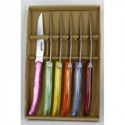 Coffret 6 couteaux LAGUIOLE , manche en plexi 6 couleurs LES COFFRETS
