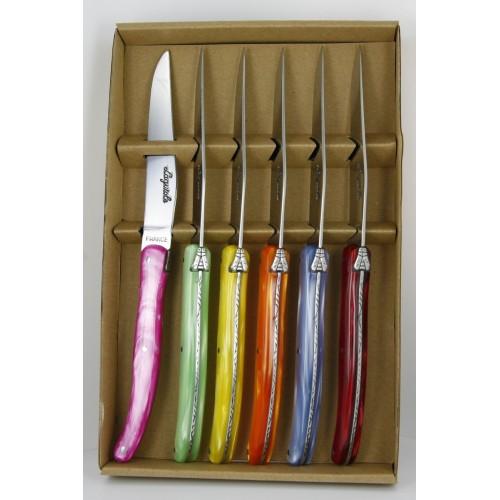 Coffret 6 couteaux de table LAGUIOLE , manche en plexi 6 couleurs LES COFFRETS