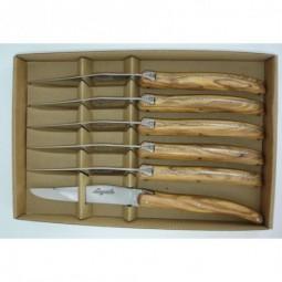 Coffret 6 couteaux de table Laguiole ,manche en bois d'olivier LES COFFRETS
