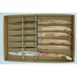 Coffret 6 couteaux Laguiole ,manche en bois de Genevrier LES COFFRETS