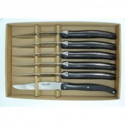 Coffret 6 couteaux Laguiole, manche en bois d' ebene LES COFFRETS