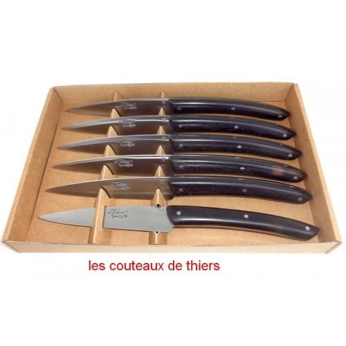 """Coffret 6 couteaux Le THIERS®, """"campagne"""",manche en bois d' ebene LES COFFRETS"""