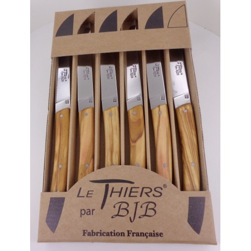 Coffret 6 couteaux Le THIERS® de table , manche en bois d' olivier LES COFFRETS