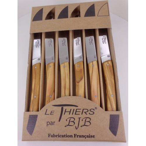Coffret 6 couteaux Le THIERS®, manche en bois d' olivier LES COFFRETS