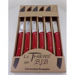 Coffret 6 couteaux de table  Le THIERS®, resine ROUGE ALFA LES COFFRETS