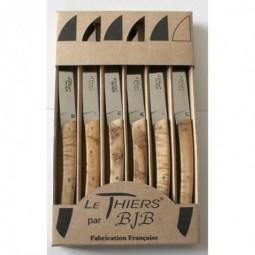 Coffret 6 couteaux Le THIERS® de table , manche en bois de genévrier LES COFFRETS