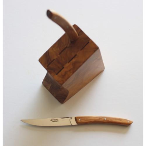 Bloc cuisine en bois d' olivier pour 6 couteaux de table LES ACCESSOIRES