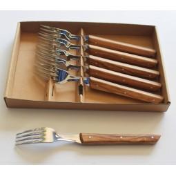 Coffret 6 Fourchettes de table 1948 de BJB en bois d'olivier 1948 DE BJB