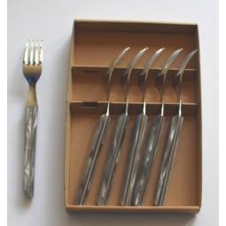 coffret 6 fourchettes de table Le BISTROT de BJB manche en plexi gris LE BISTROT DE BJB