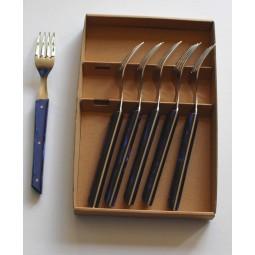 coffret 6 fourchettes de table Le BISTROT de BJB manche en plexi bleu roi LE BISTROT DE BJB