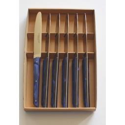 Coffret 6 couteaux de table  Le BISTROT de BJB manche en plexi bleu roi LES COFFRETS