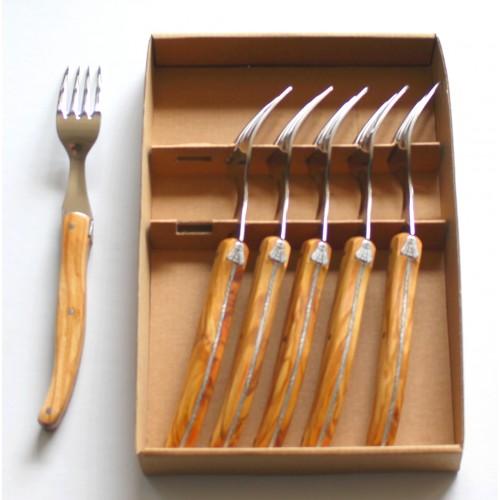 Coffret 6 fourchettes de table Laguiole ,manche en bois d' olivier LES COFFRETS