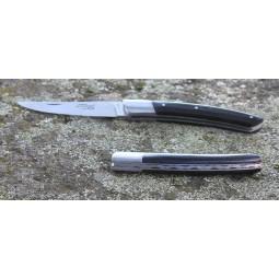 Couteau Le THIERS® pliant 12 cms , manche en bois d'Ebene ressort guilloché mains LES COUTEAUX DE POCHE PLIANTS GUILLOCHES MAINS