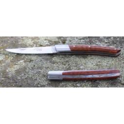 Couteau Le THIERS® pliant 12 cms , manche en bois d'Amourette   ressort guilloché mains LES COUTEAUX DE POCHE PLIANTS GUILLOC...