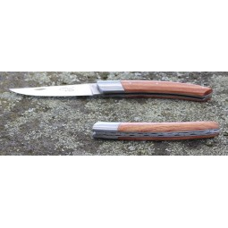 Couteau Le THIERS® pliant 12 cms , manche en bois de Rose  ressort guilloché mains LES COUTEAUX DE POCHE PLIANTS GUILLOCHES M...