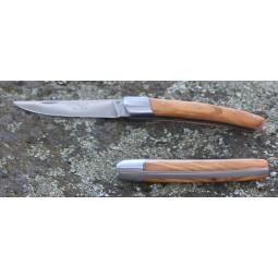 Couteau Le Thiers® Fermant 11 cms , manche en bois d'Olivier COUTEAUX FERMANTS