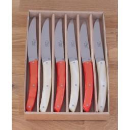 Coffret 6 couteaux Le THIERS® de table , resine, 3 sanguine 3 naturel LES COFFRETS