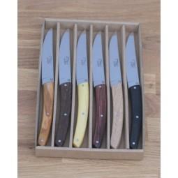 Coffret 6 couteaux Le THIERS® de Table, manche 6 bois differents LES COFFRETS