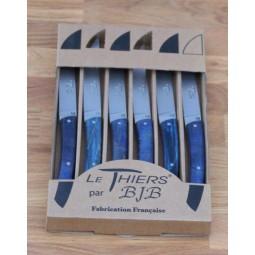 Coffret 6 couteaux Le THIERS® de table ,Manche en bois de hetre stabilisé bleu LES COFFRETS