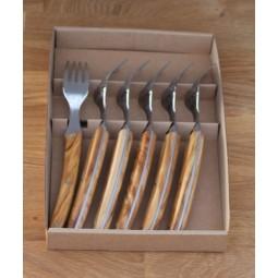 Coffret 6 fourchettes de table Le THIERS®, manche en olivier LES COFFRETS