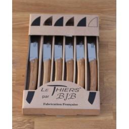 Coffret 6 couteaux Le THIERS® de table ,Manche en bambou LES COFFRETS